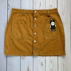 Boohoo - Tan Corduroy Button Down Skirt